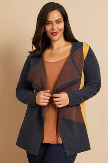 Sara Lambswool Colour Block Cardi - 241046