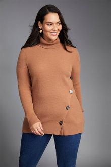 Sara Lambswool Side Button Sweater - 241048