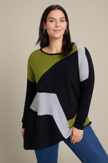 Sara Asymmetric Spliced Sweater - 241049