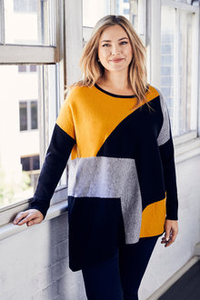 Plus Size - Sara Asymmetric Spliced Sweater