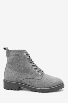 Next Forever Comfort Cleat Sole Lace-Up Ankle Boots-Wide