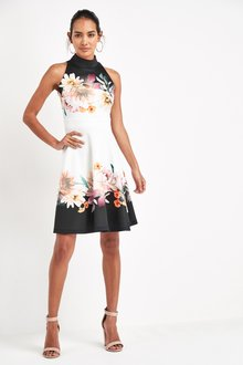 Next Border Print Halter Neck Dress