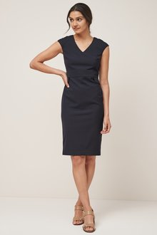 Next Pin Dot V-Neck Dress-Tall