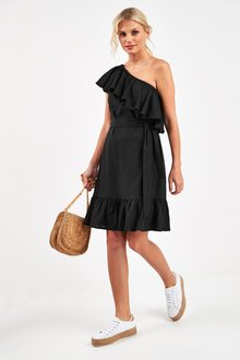 Next Linen Blend Frill One Shoulder Dress - 241125