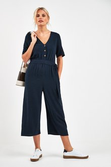 Next Linen Blend Button Jumpsuit - 241127
