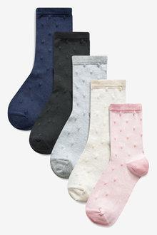 Next Textured Spot Ankle Socks 5 Pack