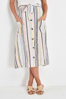 Next Stripe Pocket Button Skirt