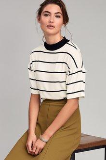 Next Stripe Rib Neck T-Shirt
