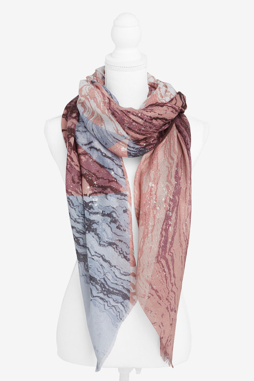 Next Marble Foil Print Lightweight Scarf