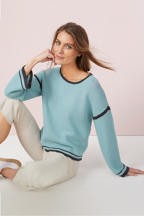 Capture Merino Contrast Trim Sweater