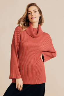 Capture Merino Ribbed Cowl Sweater - 241210