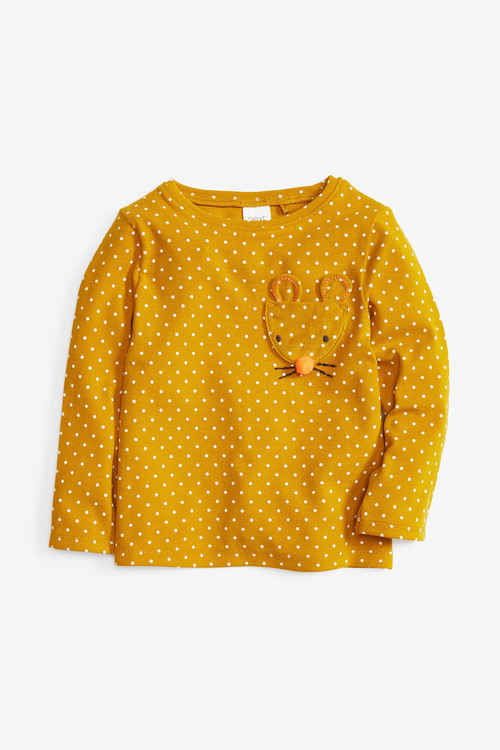 Next Spot Applique Long Sleeve T-Shirt With Character Pocket (3mths-7yrs)