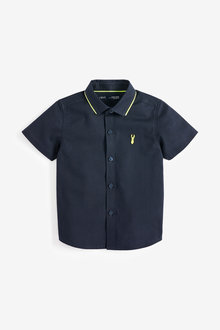 Next Short Sleeve Fluro Collar Oxford Shirt (3mths-7yrs)
