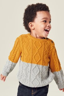 Next Colourblock Cable Knit Jumper (3mths-7yrs)