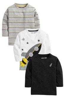 Next 3 Pack Long Sleeve Rocket T-Shirts (3mths-7yrs)