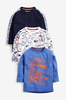 Next 3 Pack Long Sleeve Dino T-Shirts (3mths-7yrs)