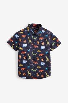 Next Short Sleeve Animal Print Shirt (3mths-7yrs)