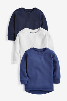 Next 3 Pack Long Sleeve Textured T-Shirts (3mths-7yrs)