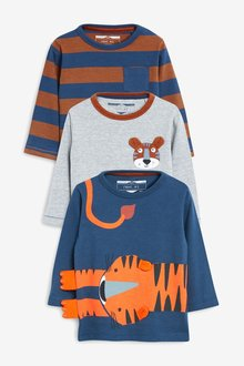 Next 3 Pack Long Sleeve Tiger T-Shirts (3mths-7yrs)