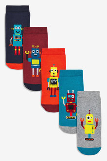 Next 5 Pack Cotton Rich Full Terry Robot Socks (Younger)