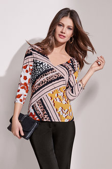 European Collection Abstract Print V Neck Top - 241371
