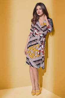 European Collection Abstract Print Wrap Dress - 241372