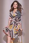 European Collection Abstract Print Wrap Dress