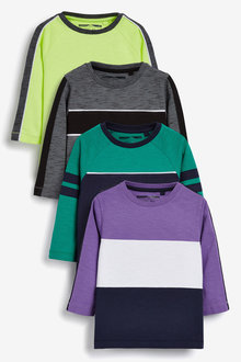 Next 4 Pack Long Sleeve Colourblock T-Shirts (3mths-7yrs)