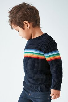 Next Rainbow Stripe Textured Jumper (3mths-7yrs)