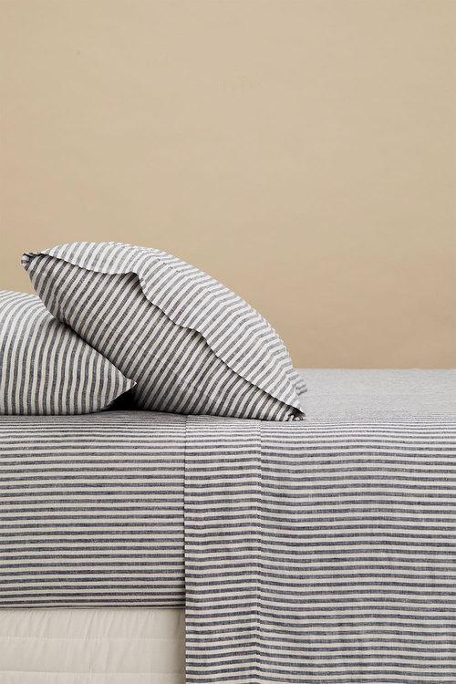 Hampton Stripe Linen Sheet Set