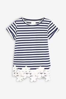 Next Lace Hem Short Sleeve Tee (3-16yrs) - 241995