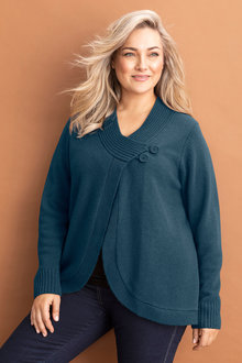 Plus Size - Sara Lambswool Button Cardi