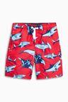 Next Red Shark Print Swim Shorts