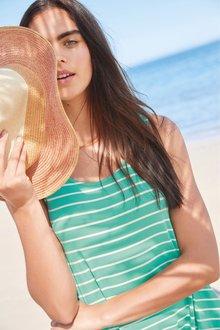 Next Green Stripe Sleeveless Pocket Dress - 242359