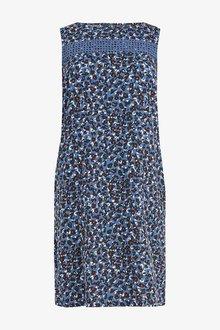 Next Blue Leopard Linen Blend Shift Dress - 242362