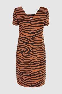 Next Zebra V-Neck Shift Dress - 242365