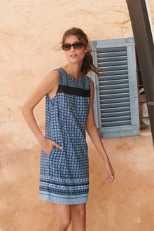 Next Linen Blend Shift Dress-Tall