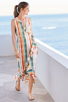 Next Stripe Frill Detail Wrap Dress - 242369