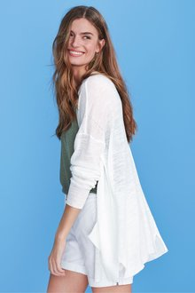 Next White Linen Mix Cardigan - 242378