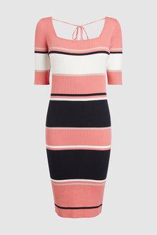 Next Coral Stripe Square Neck Dress - 242380