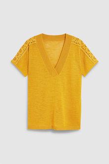 Next Ochre Linen Blend V-Neck T-Shirt - 242382