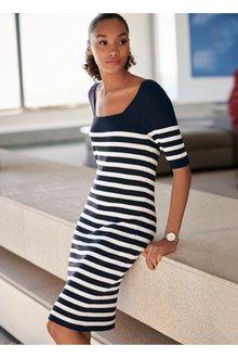 Next Navy Sparkle Stripe Square Neck Dress - 242385