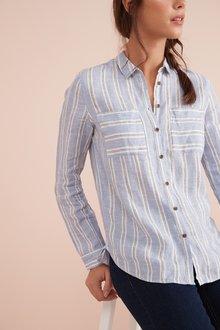 Next Blue Stripe Linen Shirt - 242402