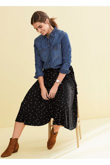 Next Black Spot Wrap Skirt - 242407