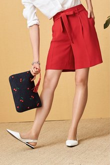 Next Red Crepe Belted Shorts - 242413