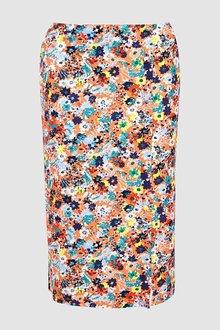 Next Orange Floral Print Button Skirt - 242415