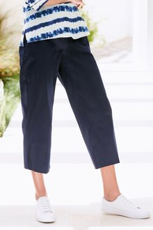 Next Navy Twill Wide Crop Trousers - 242431