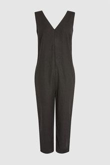 Next Black Linen Blend Jumpsuit - 242445