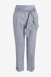 Next Blue Cotton Linen Blend Trousers - 242448