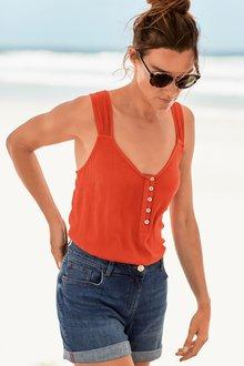 Next Orange Button Detail Vest - 242470